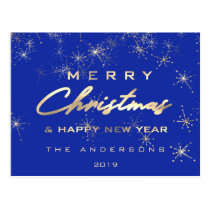 Merry Christmas & Happy New Year Spark Gold Blue Postcard