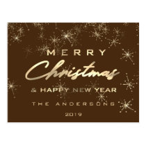 Merry Christmas & Happy New Year Spark Gold Bronze Postcard