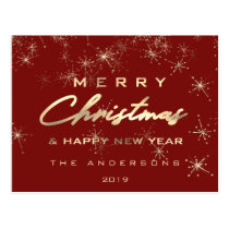 Merry Christmas Happy New Year Spark Gold Burgundy Postcard