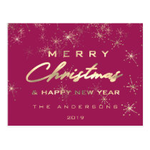 Merry Christmas & Happy New Year Spark Gold Fuchsi Postcard