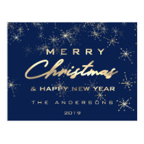 Merry Christmas & Happy New Year Spark Gold Navy Postcard