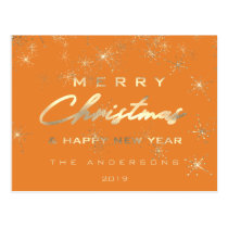 Merry Christmas & Happy New Year Spark Gold Orange Postcard