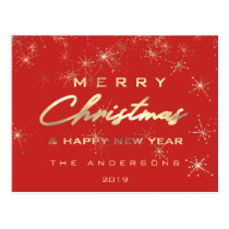 Merry Christmas & Happy New Year Spark Gold Red Postcard
