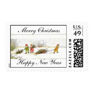 Merry Christmas Happy New Year Stamps