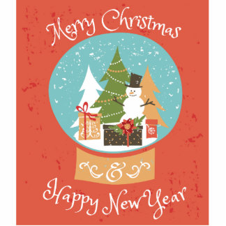 Merry Christmas Happy New Year Statuette