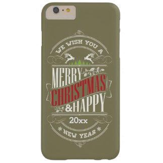 Merry Christmas & Happy New Year Text, Customize Barely There iPhone 6 Plus Case