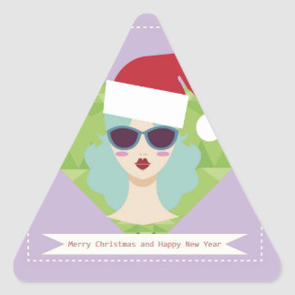 merry christmas happy new year triangle sticker
