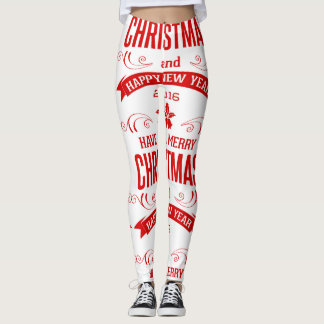 Merry Christmas Happy New-Year White & Red Leggings