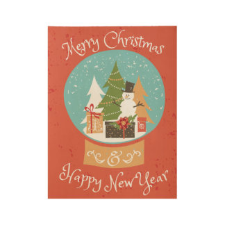 Merry Christmas Happy New Year Wood Poster