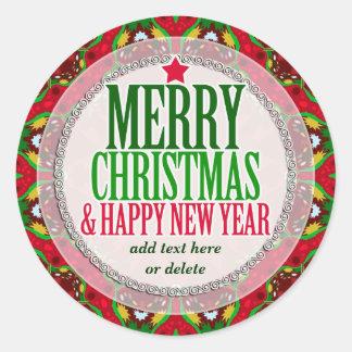 Merry Christmas Happy NewYear Round Sticker