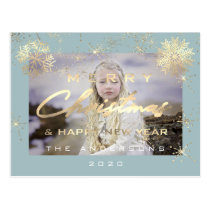 Merry Christmas Happy NewYear Snow Gold Aqua Photo Postcard