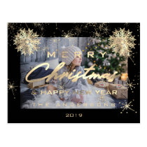 Merry Christmas Happy NewYear Snow Gold Blac Photo Postcard
