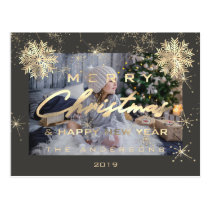 Merry Christmas Happy NewYear Snow Gold Gray Photo Postcard