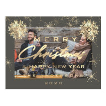 Merry Christmas Happy NewYear Snow Gold Grey Photo Postcard