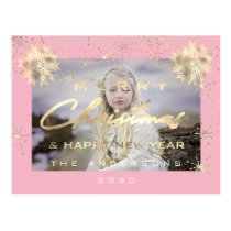 Merry Christmas Happy NewYear Snow Gold Pink Photo Postcard