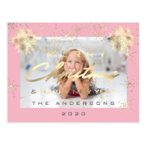 Merry Christmas Happy NewYear Snow Gold Rose Photo Postcard