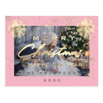 Merry Christmas Happy NewYear Snowflake Rose Photo Postcard