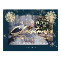 Merry Christmas Happy NewYear Snowflake Teal Photo Postcard