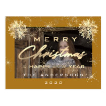 Merry Christmas Happy NewYear Snowflakes Photo Postcard