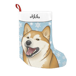 Merry Christmas Happy Shiba Inu Stocking Small Christmas Stocking