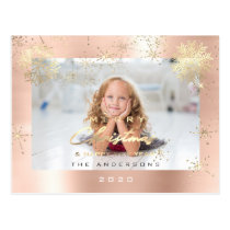 Merry Christmas Happy Year Gold Snow Blush Photo Postcard