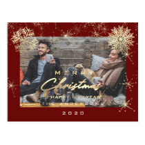 Merry Christmas Happy Year Gold Snow Maroon Photo Postcard