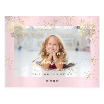 Merry Christmas Happy Year Gold Snow Pink Photo Postcard