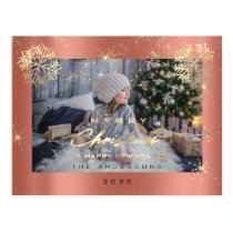 Merry Christmas Happy Year Gold Snow Rose Photo Postcard