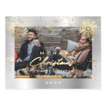 Merry Christmas Happy Year Gold Snow Silver Photo Postcard