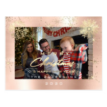 Merry Christmas Happy  Year Gold Snow Spark Photo Postcard