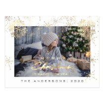 Merry Christmas Happy Year Gold Snowflakes Photo Postcard