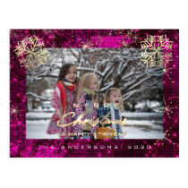 Merry Christmas Happy Year Gold Snowflakes Pink Postcard