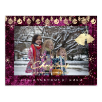 Merry Christmas Happy Year Gold Snowflakes Purple Postcard
