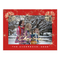 Merry Christmas Happy Year Gold Snowflakes Red Postcard
