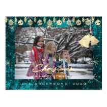 Merry Christmas Happy Year Gold Snowflakes Teal Postcard