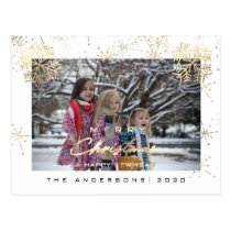 Merry Christmas Happy Year Gold Snowflakes White Postcard