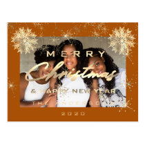Merry Christmas Happy Year Snow Gold Honey Photo Postcard