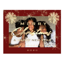 Merry Christmas Happy Year Snow Gold Maroon Photo Postcard