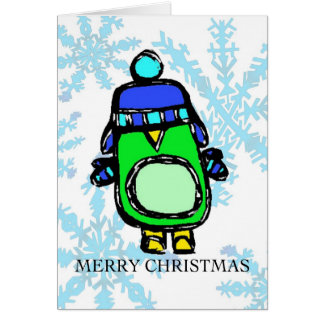 merry christmas - hat & mittens penguin card