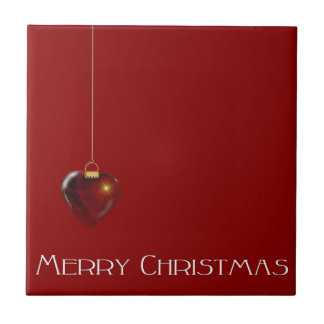 MERRY CHRISTMAS HEART ~ SMALL SQUARE TILE