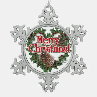Merry Christmas Heart Wreath Snowflake Pewter Christmas Ornament