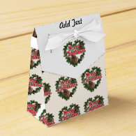 Merry Christmas Heart Wreath Party Favor Boxes