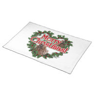 Merry Christmas Heart Wreath Placemat