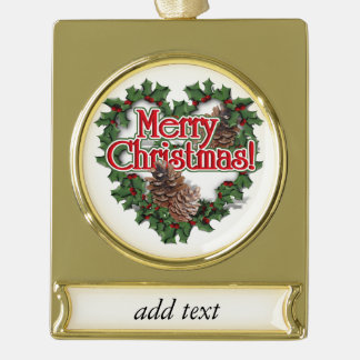 Merry Christmas Heart Wreath Gold Plated Banner Ornament