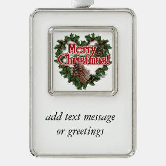 Merry Christmas Heart Wreath Silver Plated Framed Ornament