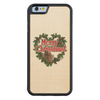 Merry Christmas Heart Wreath Carved® Maple iPhone 6 Bumper