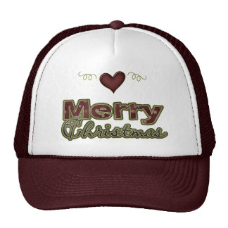 Merry Christmas Heart Yuletide Design Hats