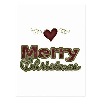 Merry Christmas Heart Yuletide Design Post Cards