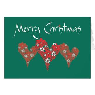 Merry Christmas Hearts Card