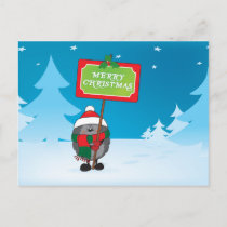 Merry Christmas hedgehog Holiday Postcard